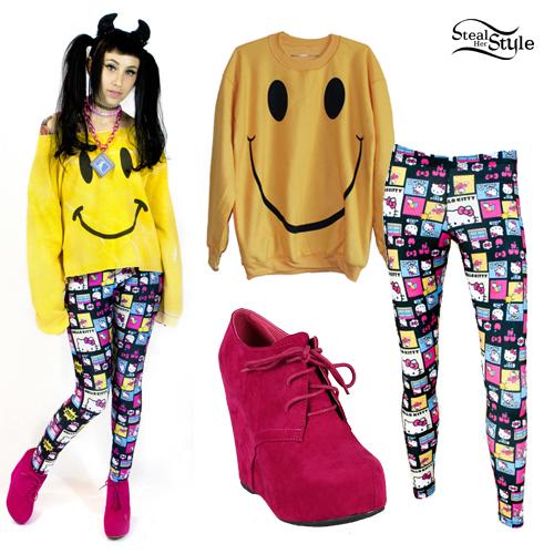 Kreayshawn: Hello Kitty Leggings, Smiley Sweater