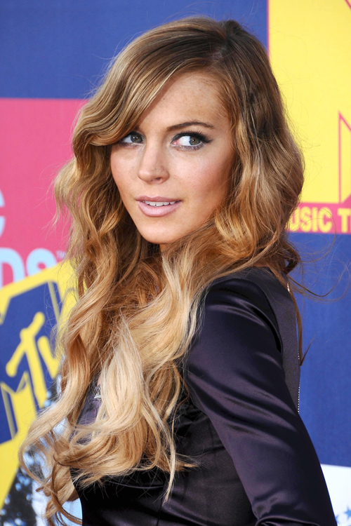 Lindsay Lohan Wavy Light Brown Ombr Hairstyle Steal Her Style