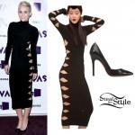 Miley Cyrus: Cut Out Dress, Black Stilettos