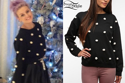 c57954e2ca Perrie Edwards: Pom Pom Sweater | Steal Her Style
