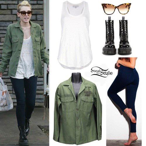 Gdzie mogę kupić kody promocyjne sprzedawane na całym świecie Miley Cyrus: Distressed Tank, Vintage Jacket | Steal Her Style