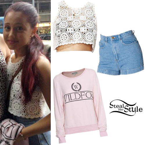 Steal Her Style: Ariana Grande: White Top, High Waist Short