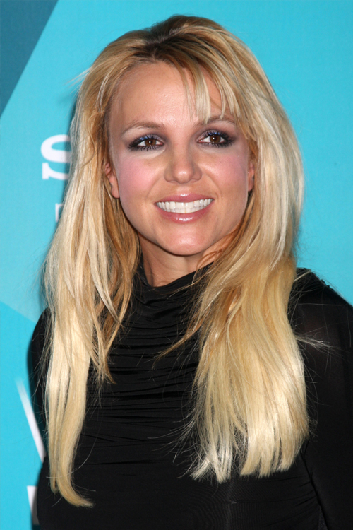 Britney Spears Straight Golden Blonde Angled, Thin Bangs Hairstyle  Steal Her Style