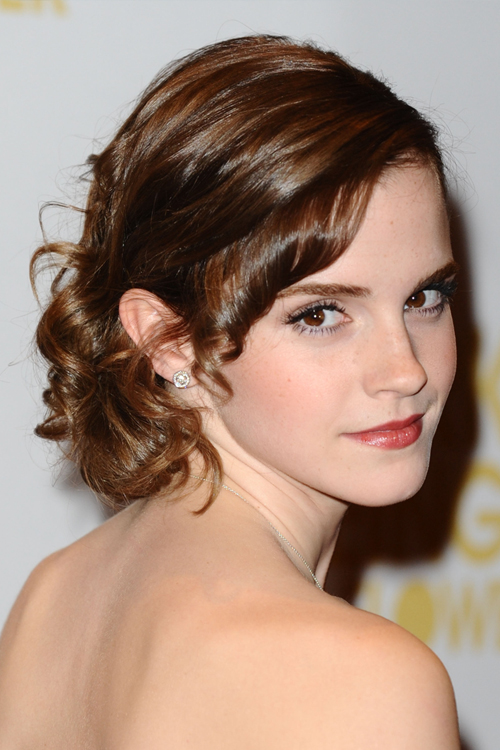 Emma Watson Wavy Medium Brown Updo Hairstyle | Steal Her Style
