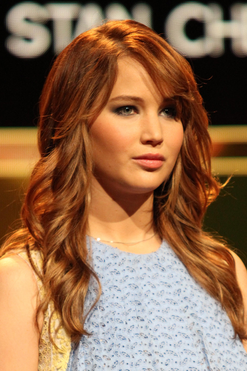 Awesome Jennifer Lawrence Wavy Ginger Sideswept Bangs Hairstyle Steal Hairstyles For Men Maxibearus
