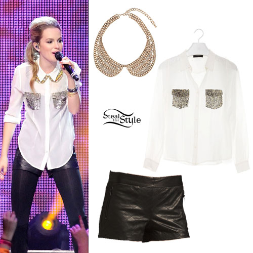 Bridgit Mendler: Sequin Pocket Blouse, Leather Shorts