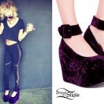 Lil Debbie: Purple Velvet Flatform Shoes