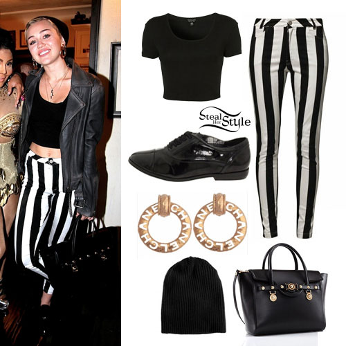 Miley Cyrus: Striped Jeans, Cropped Tee