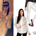 Natalia Kills: Grid Blazer, White Pants