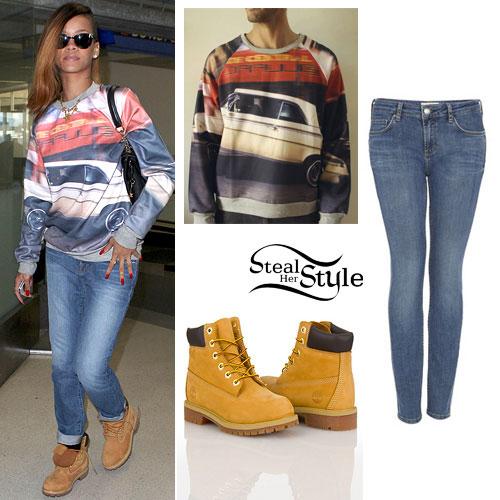 Rihanna: Car Sweatshirt Outfit