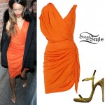 Rihanna: Draped Orange Dress
