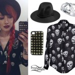 Ash Costello: Skull Print Blouse Outfit