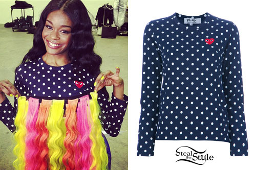 Azealia Banks: Polka Dot Long Sleeve Top