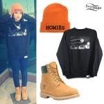 Becky G: Homies Beanie, Clarity Sweatshirt, Timberland Boots