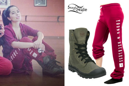 Becky G: Red Sweatpants, Foldover Boots