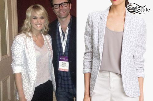 Carrie Underwood: White Leopard Blazer