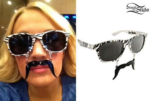 Carrie Underwood: Zebra Moustache Sunglasses