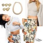 Cassie: Turtleneck Top, Floral Skirt