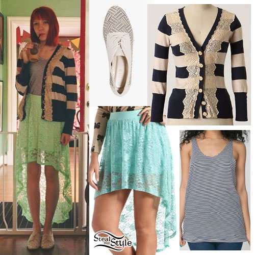 Christie DuPree: Striped Lace-Trim Cardigan
