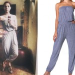 Christina Perri: Gray Strapless Jumpsuit
