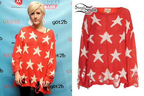 Ellie Goulding: Ripped Red Star Sweater | Steal Her Style