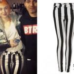 Hayley Williams: Black & White Stripe Jeans