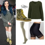 Jade Thirlwall: Green Sweater, Camo Sneakers