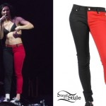 Kim Schifino: Red & Black Split Leg Jeans