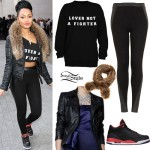 Leigh-Anne Pinnock: Fur Scarf, Panel Leggins
