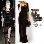 Perrie Edwards: Velvet Maxi Dress, Studded Heels