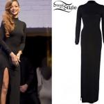 Rihanna: Split Long-Sleeve Maxi Dress