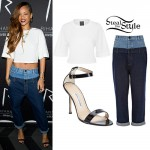 Rihanna: White Tee, Two Tone Jeans