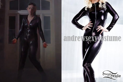Skye Sweetnam: Black Latex Catsuit
