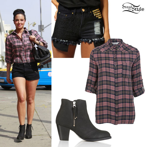 Tulisa Contostavlos: Pink Check Shirt Outfit