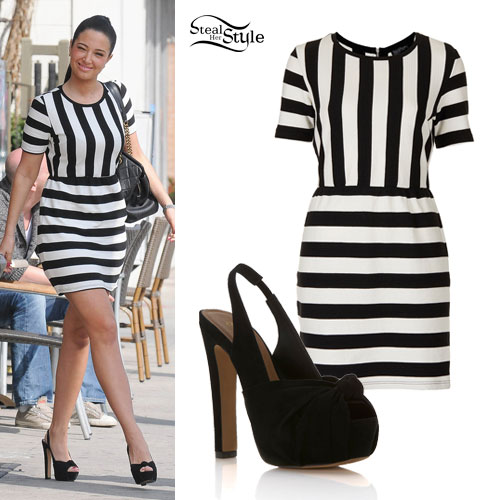 Tulisa Contostavlos: Stripe Shift Dress