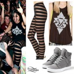 Yasmine Yousaf: Triangle Tank Top, Mesh Stripe Leggings, Gray Supra Sneakers