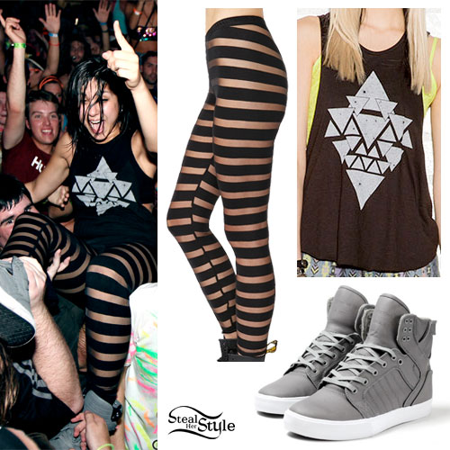 Yasmine Yousaf: Triangle Tank Top, Mesh Stripe Leggings, Gray Supra Sneakers