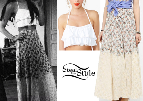 Ariana Grande: White Top, Floral Skirt | Steal Her Style