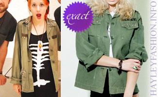 Hayley Williams olive military jacket
