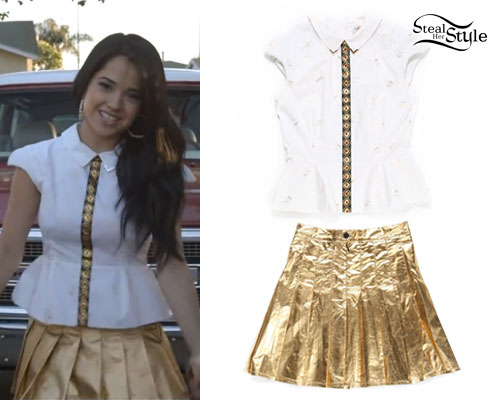 Becky G: Becky From The Block Gold Pleated Skirt & Peplum Blouse