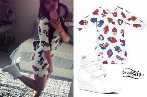 Becky G: Mexico Print Dress, Wedge Sneakers