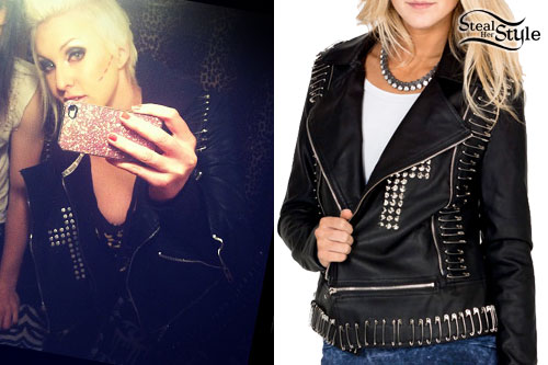 Brooklyn Allman: Cross Safety Pin Leather Jacket