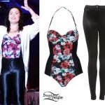 Demi Lovato: Floral Bodysuit, Disco Pants