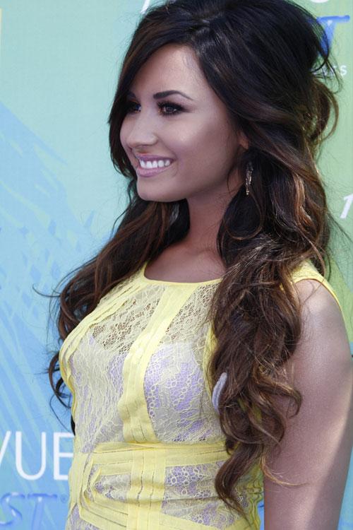 Demi Lovato Wavy Dark Brown Beehive Half Up Half Down