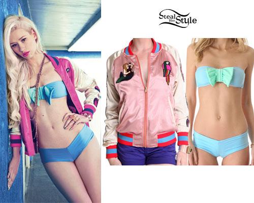 Iggy Azalea: Pink Jacket, Bow Bandeau Bikini
