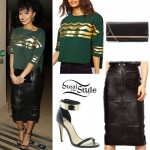 Leigh-Anne Pinnock: ZigZag Top, Leather Skirt