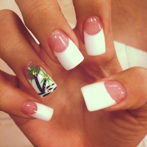Melissa Marie Green Clear White French Manicure Jewels Nail Art Palm Tree Nails Steal Her