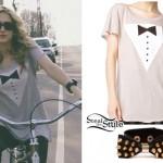 Mindy White: Beige Tuxedo T-Shirt, Spike Bow Bracelet