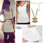 Natalia Kills: White Tennis Skirt