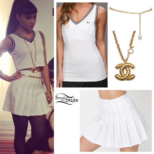 Natalia Kills White Tennis Skirt Outfit | Steal Her Style